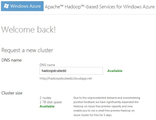 Hadoop Azure New
